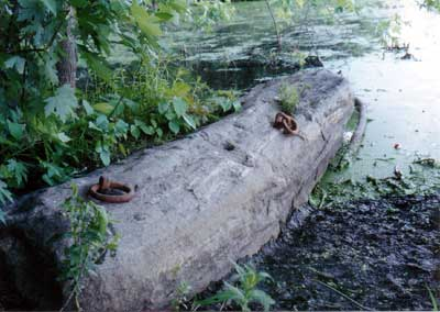Anchor stone for the floating towpath at the North Billerica Mill Pond