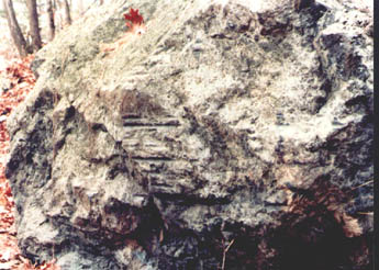 Boulder in Wilmington at the Ox Bow showing grooves worn by tow lines during the operation of the Middlesex canal