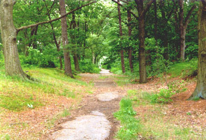 View of the path of the Middlesex Canal at Upper Mystic Lake
